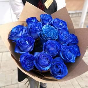 Букет 11 синих роз с оформлением R668